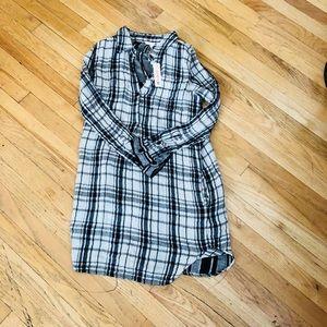 NWT Sundry Rare Plaid Long Sleeve T-Shirt Dress S
